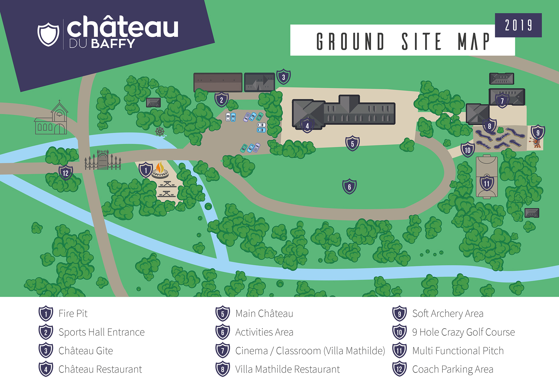 Chateau du Baffy Site Map for Evening Entertainment with key January 2019 smaller